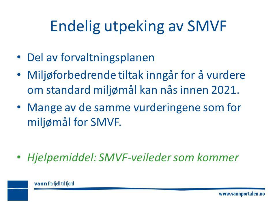 Endelig utpeking av SMVF Del av forvaltningsplanen Miljøforbedrende tiltak inngår for å vurdere om standard miljømål kan nås innen 2021.