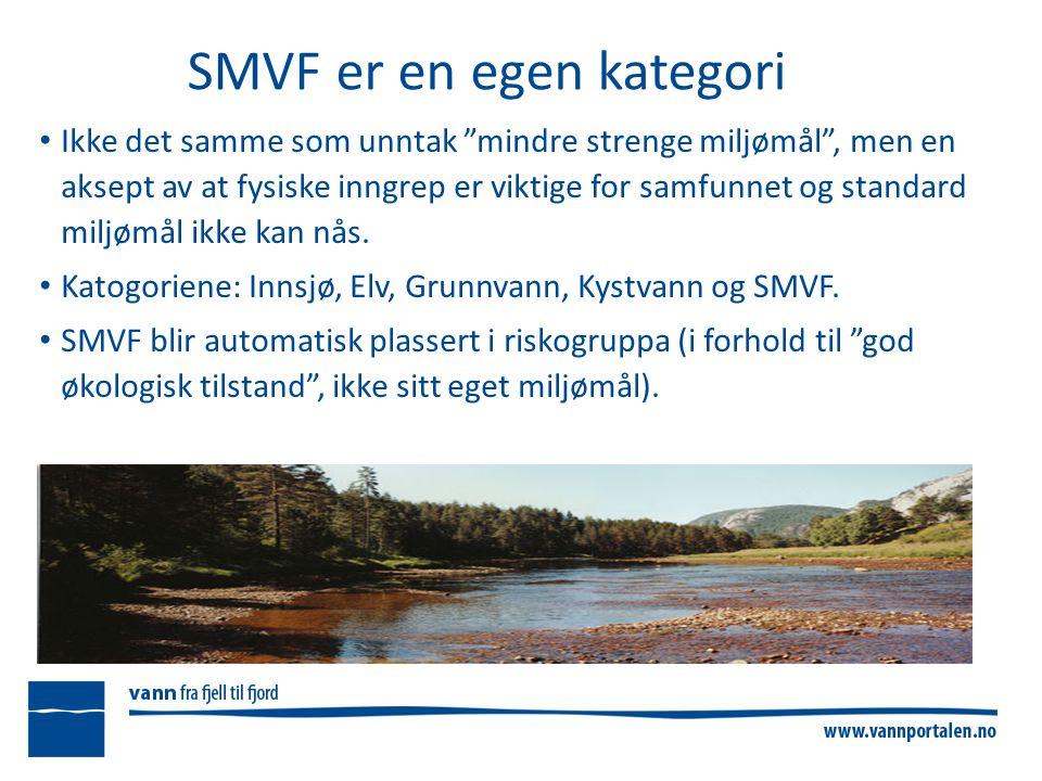 SMVF er en egen kategori Ikke det samme som unntak mindre strenge miljømål , men en aksept av at fysiske inngrep er viktige for samfunnet og standard miljømål ikke kan nås.