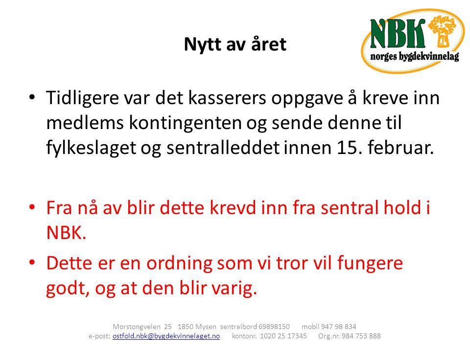 Nytt av året Morstongveien 25 1850 Mysen sentralbord 69898150 mobil 947 98 834 e-post: ostfold.nbk@bygdekvinnelaget.no kontonr. 1020 25 17345 Org.nr.