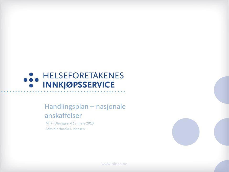Handlingsplan – nasjonale anskaffelser MTF- Olavsgaard 12.mars 2013 Adm.dir Harald I. Johnsen