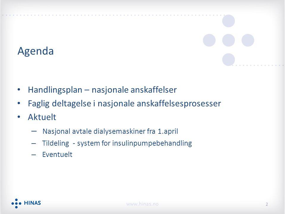 Agenda Handlingsplan – nasjonale anskaffelser Faglig deltagelse i nasjonale anskaffelsesprosesser Aktuelt – Nasjonal avtale dialysemaskiner fra 1.apri