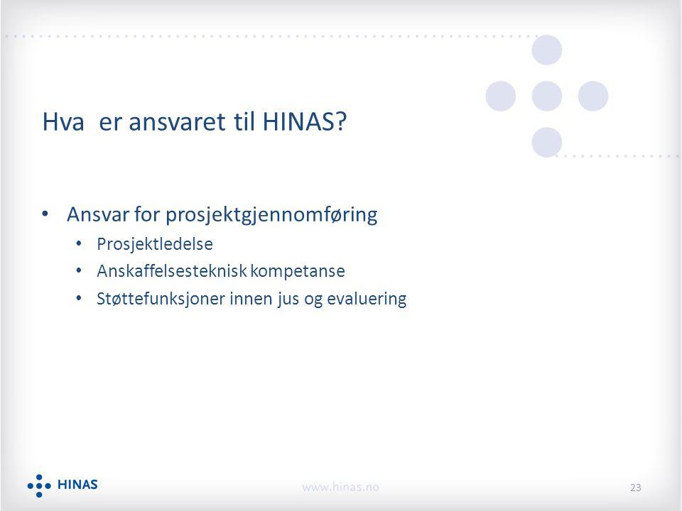 Hva er ansvaret til HINAS? Ansvar for prosjektgjennomføring Prosjektledelse Anskaffelsesteknisk kompetanse Støttefunksjoner innen jus og evaluering 23