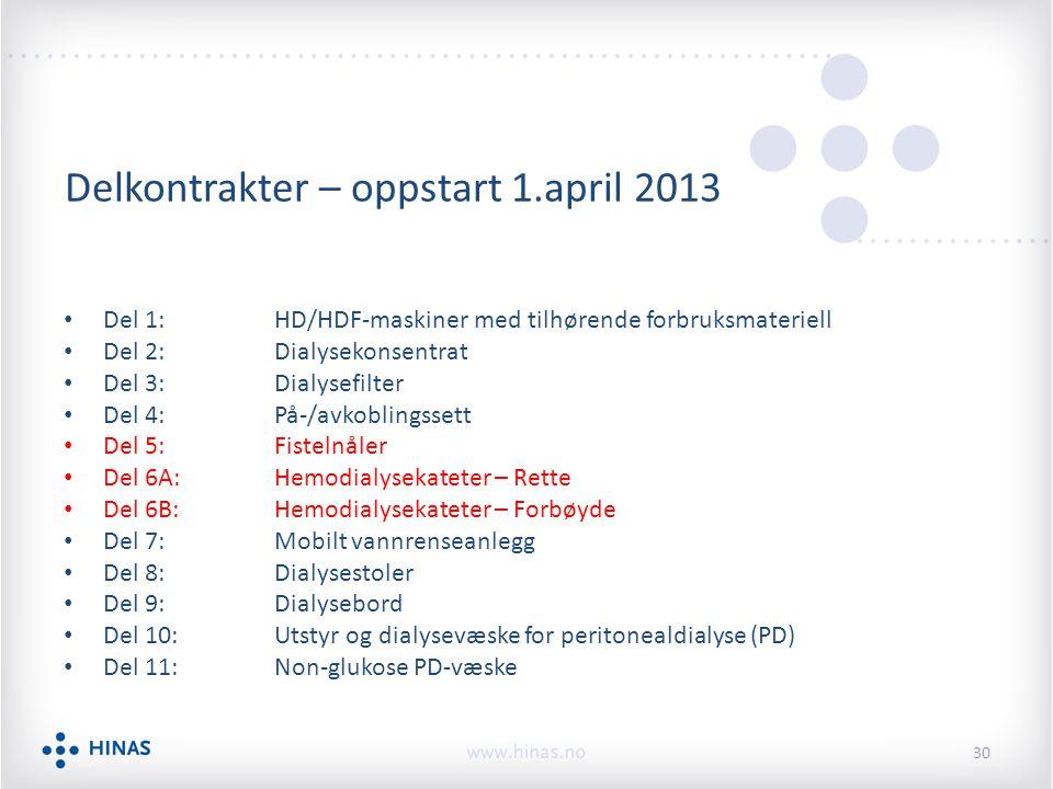 Delkontrakter – oppstart 1.april 2013 Del 1:HD/HDF-maskiner med tilhørende forbruksmateriell Del 2:Dialysekonsentrat Del 3:Dialysefilter Del 4:På-/avk