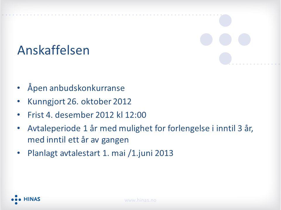 Anskaffelsen Åpen anbudskonkurranse Kunngjort 26. oktober 2012 Frist 4. desember 2012 kl 12:00 Avtaleperiode 1 år med mulighet for forlengelse i innti