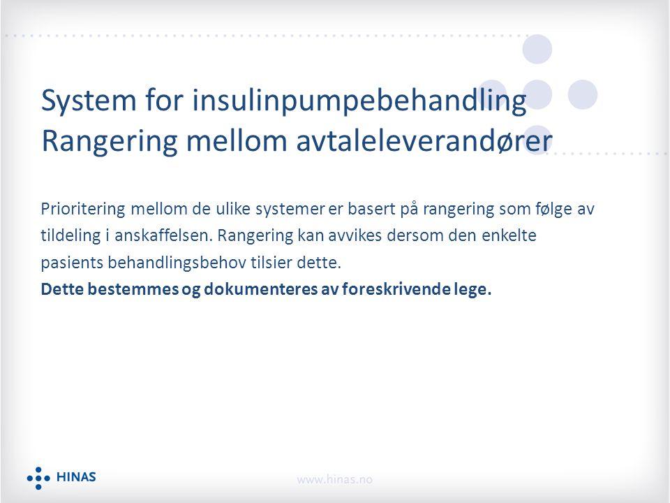 System for insulinpumpebehandling Rangering mellom avtaleleverandører Prioritering mellom de ulike systemer er basert på rangering som følge av tildel