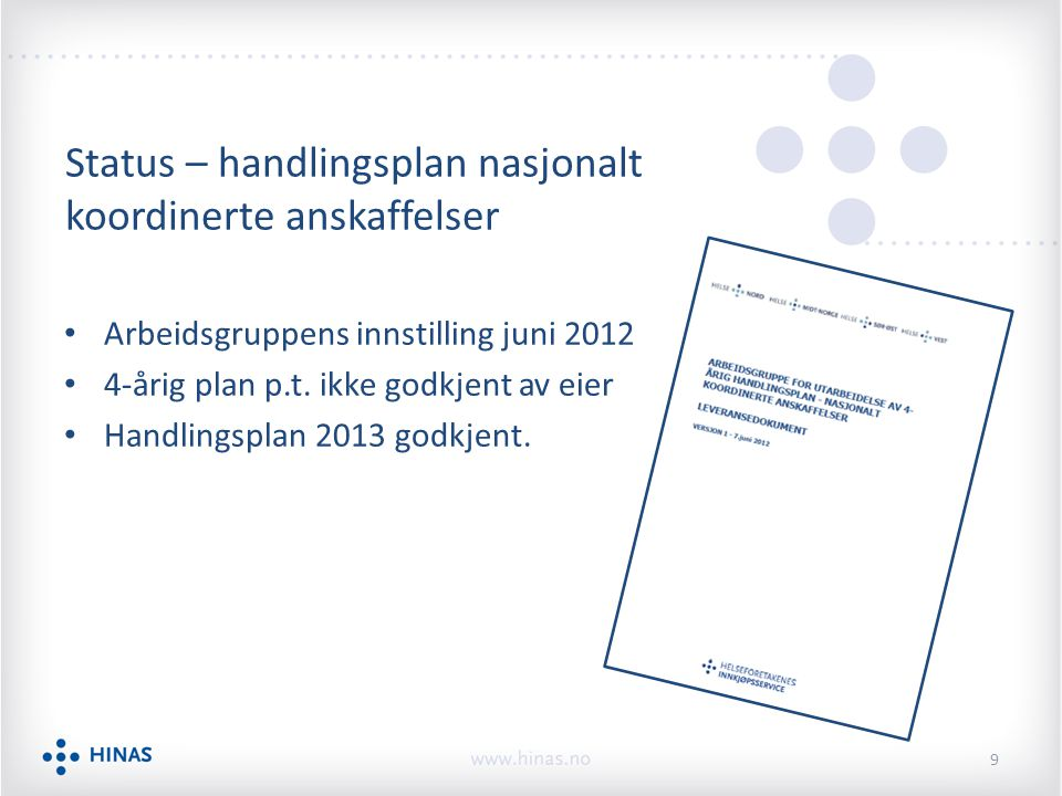 Status – handlingsplan nasjonalt koordinerte anskaffelser Arbeidsgruppens innstilling juni 2012 4-årig plan p.t. ikke godkjent av eier Handlingsplan 2