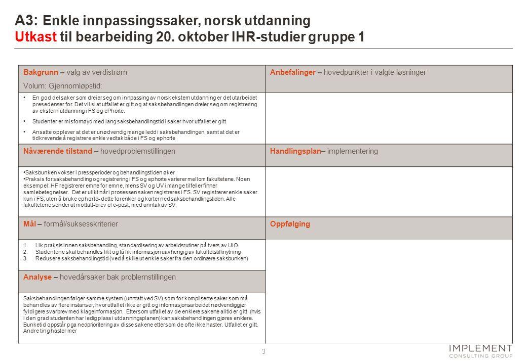 3 A3: Enkle innpassingssaker, norsk utdanning Utkast til bearbeiding 20. oktober IHR-studier gruppe 1 Bakgrunn – valg av verdistrøm Volum: Gjennomløps