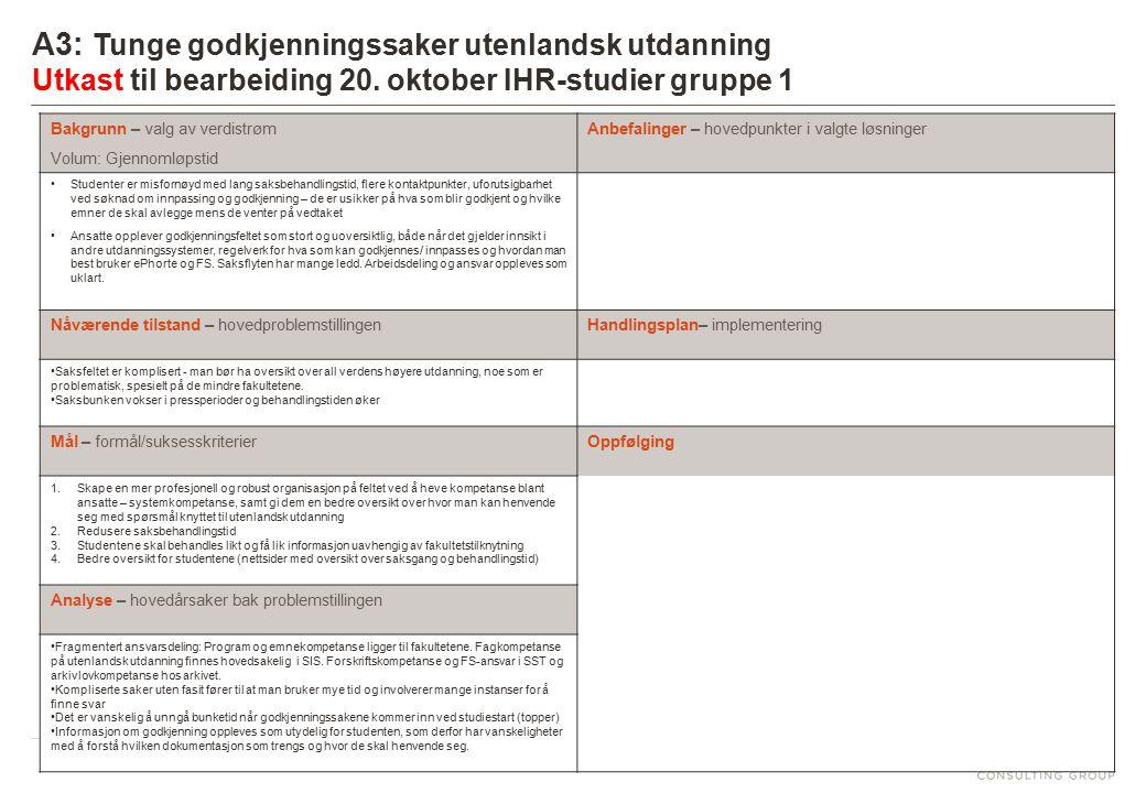 6 A3: Tunge godkjenningssaker utenlandsk utdanning Utkast til bearbeiding 20. oktober IHR-studier gruppe 1 Bakgrunn – valg av verdistrøm Volum: Gjenno
