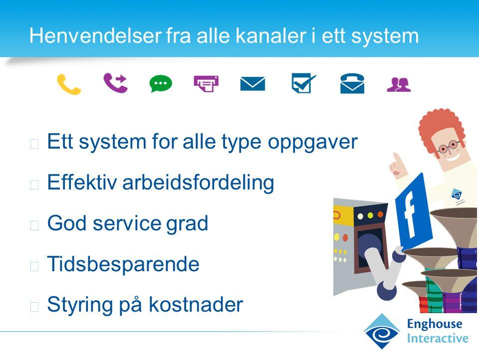 Henvendelser fra alle kanaler i ett system ◆ Ett system for alle type oppgaver ◆ Effektiv arbeidsfordeling ◆ God service grad ◆ Tidsbesparende ◆ Styri