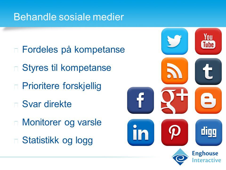 Behandle sosiale medier ◆ Fordeles på kompetanse ◆ Styres til kompetanse ◆ Prioritere forskjellig ◆ Svar direkte ◆ Monitorer og varsle ◆ Statistikk og