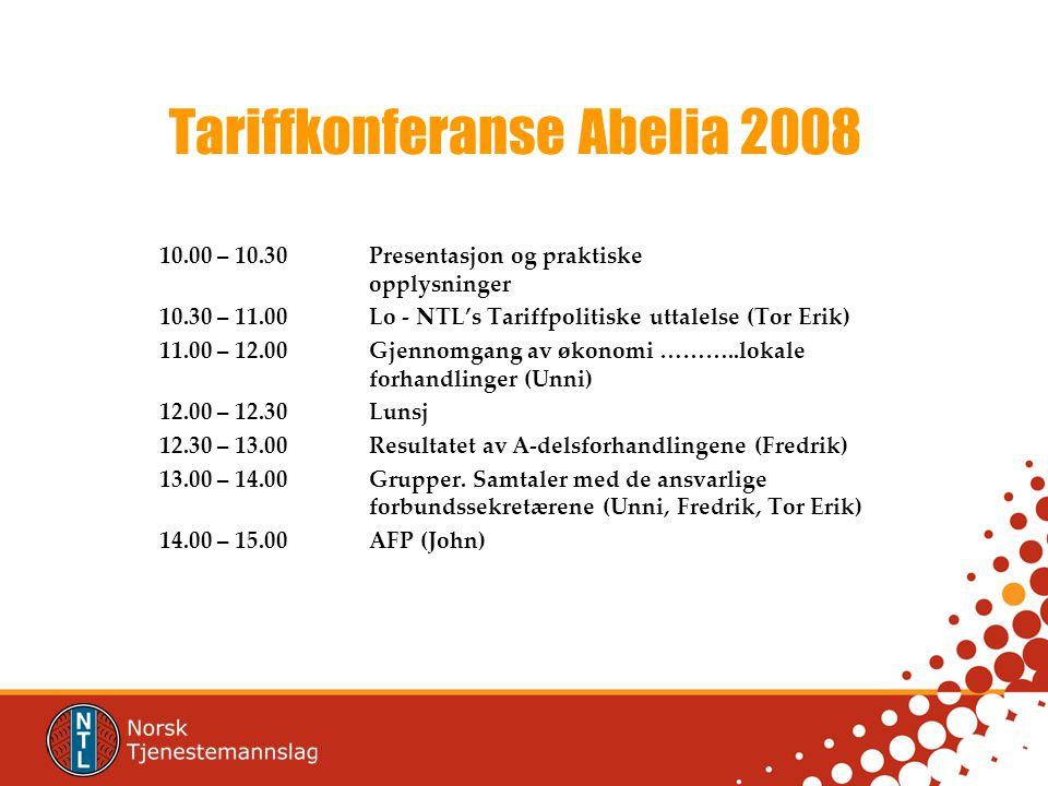 Tariffkonferanse Abelia 2008 10.00 – 10.30Presentasjon og praktiske opplysninger 10.30 – 11.00Lo - NTL's Tariffpolitiske uttalelse (Tor Erik) 11.00 – 12.00Gjennomgang av økonomi ………..lokale forhandlinger (Unni) 12.00 – 12.30Lunsj 12.30 – 13.00Resultatet av A-delsforhandlingene (Fredrik) 13.00 – 14.00Grupper.
