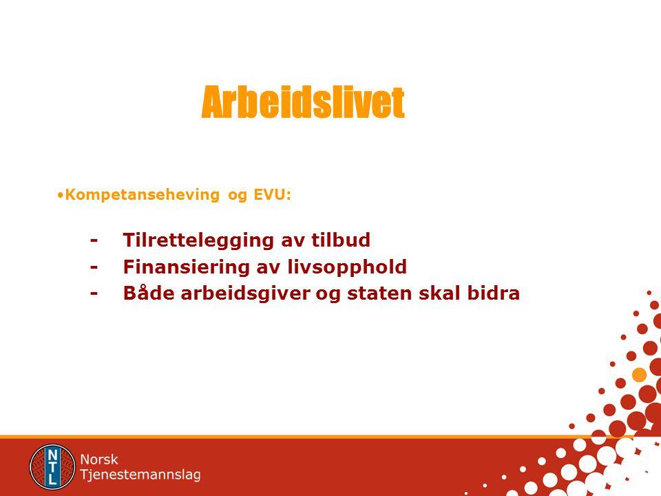 Arbeidslivet Kompetanseheving og EVU: - Tilrettelegging av tilbud -Finansiering av livsopphold -Både arbeidsgiver og staten skal bidra