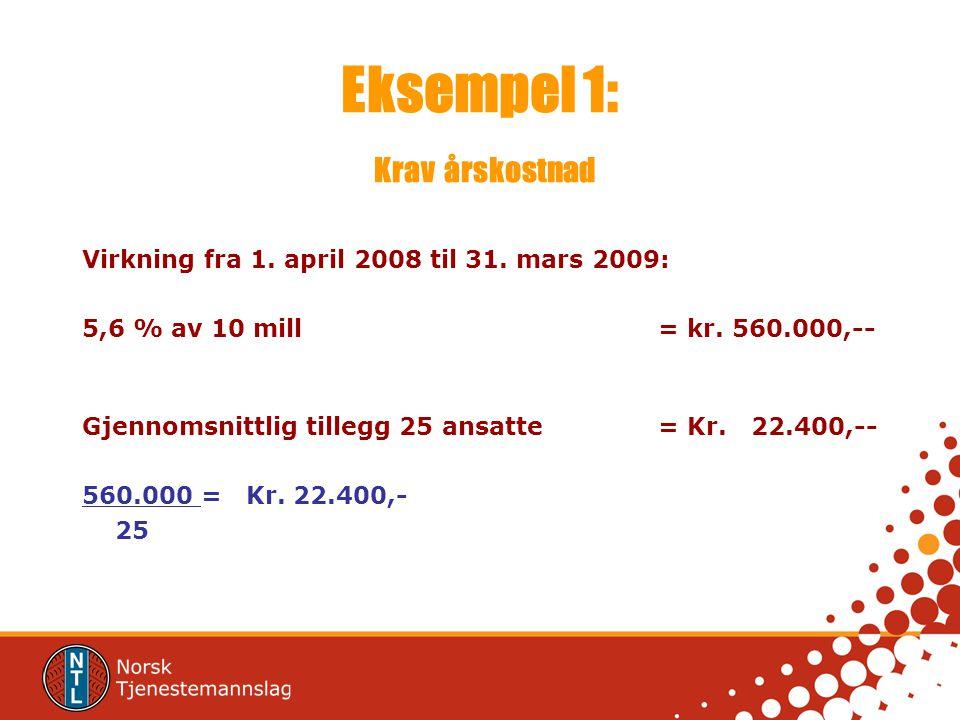 Eksempel 1: Krav årskostnad Virkning fra 1. april 2008 til 31. mars 2009: 5,6 % av 10 mill = kr. 560.000,-- Gjennomsnittlig tillegg 25 ansatte = Kr. 2