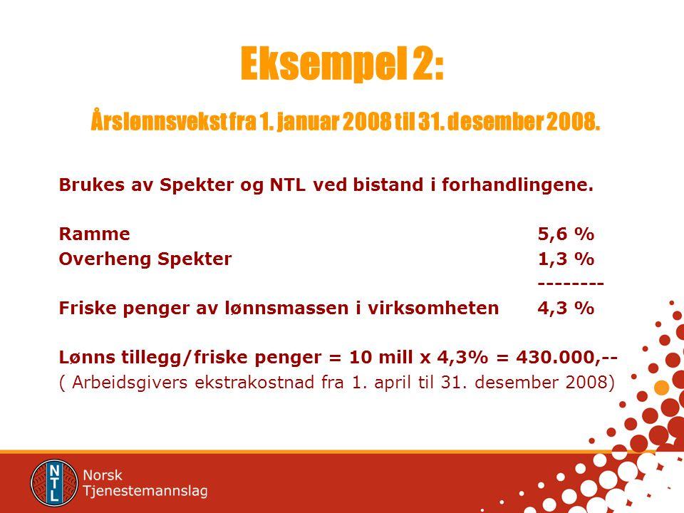 Eksempel 2: Årslønnsvekst fra 1. januar 2008 til 31. desember 2008. Brukes av Spekter og NTL ved bistand i forhandlingene. Ramme5,6 % Overheng Spekter