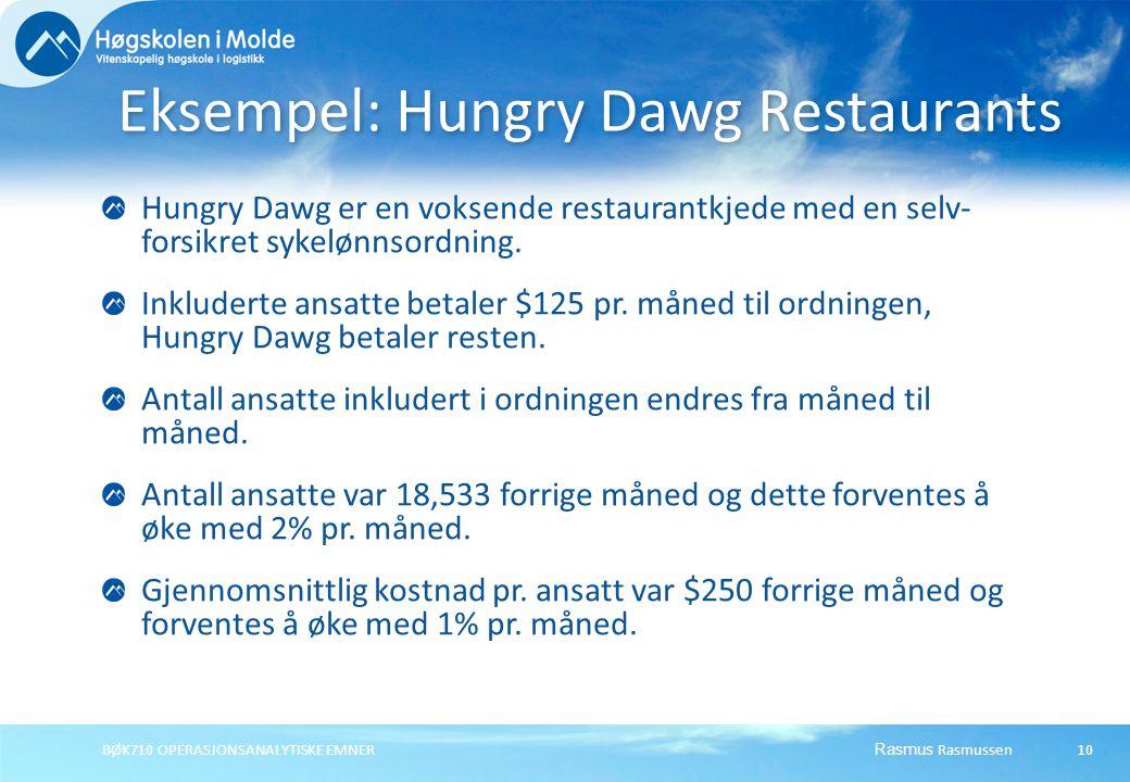 Rasmus Rasmussen BØK710 OPERASJONSANALYTISKE EMNER 10 Hungry Dawg er en voksende restaurantkjede med en selv- forsikret sykelønnsordning.