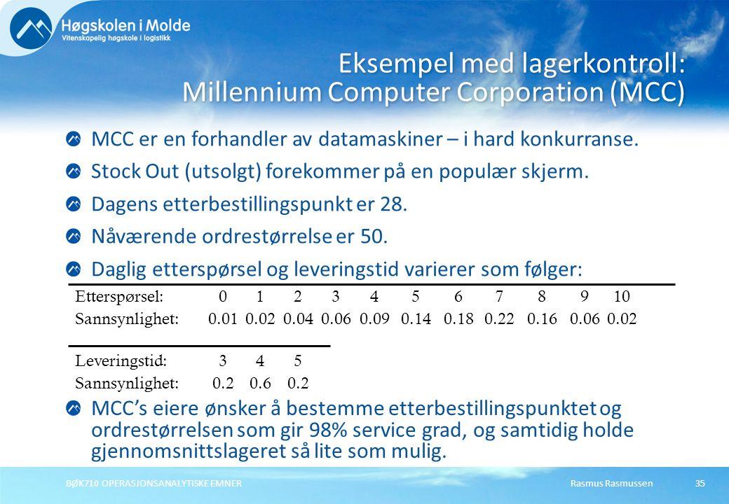 Rasmus Rasmussen BØK710 OPERASJONSANALYTISKE EMNER 35 MCC er en forhandler av datamaskiner – i hard konkurranse.