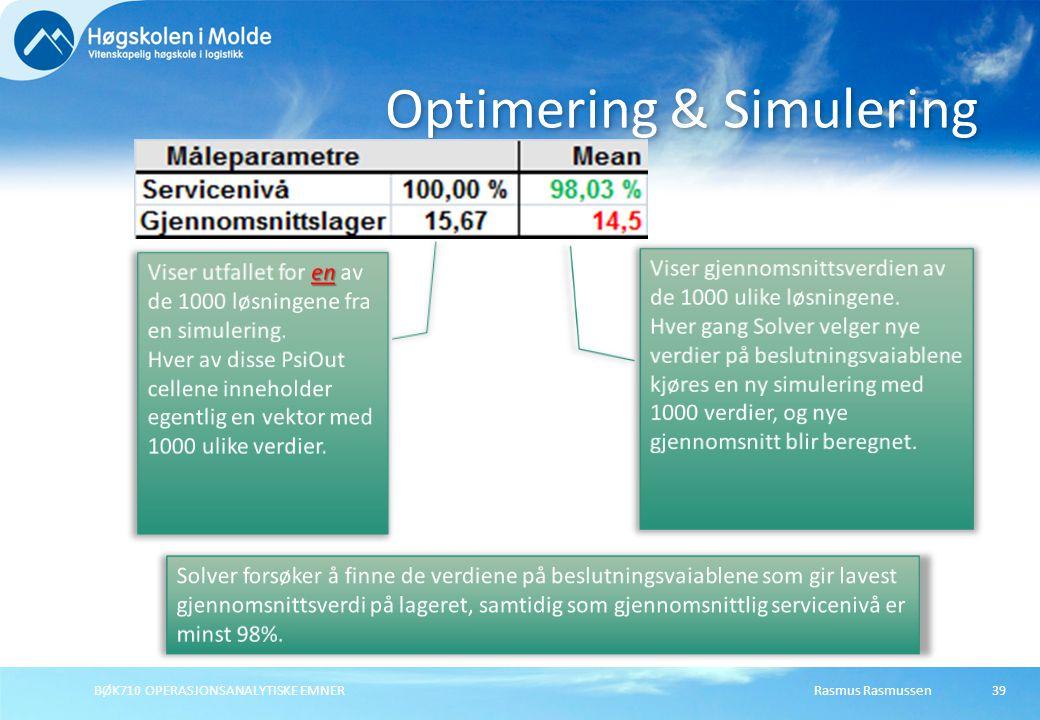Rasmus RasmussenBØK710 OPERASJONSANALYTISKE EMNER39 Optimering & Simulering