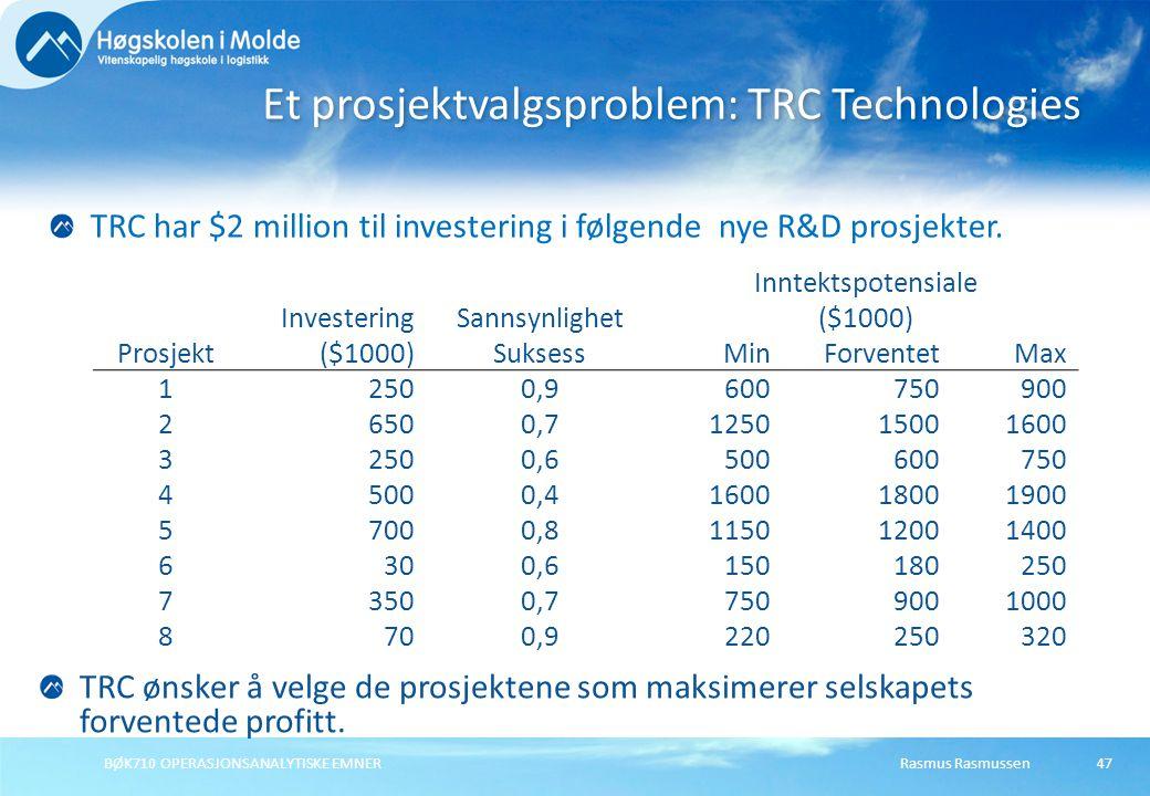 Rasmus Rasmussen BØK710 OPERASJONSANALYTISKE EMNER 47 Et prosjektvalgsproblem: TRC Technologies TRC har $2 million til investering i følgende nye R&D prosjekter.