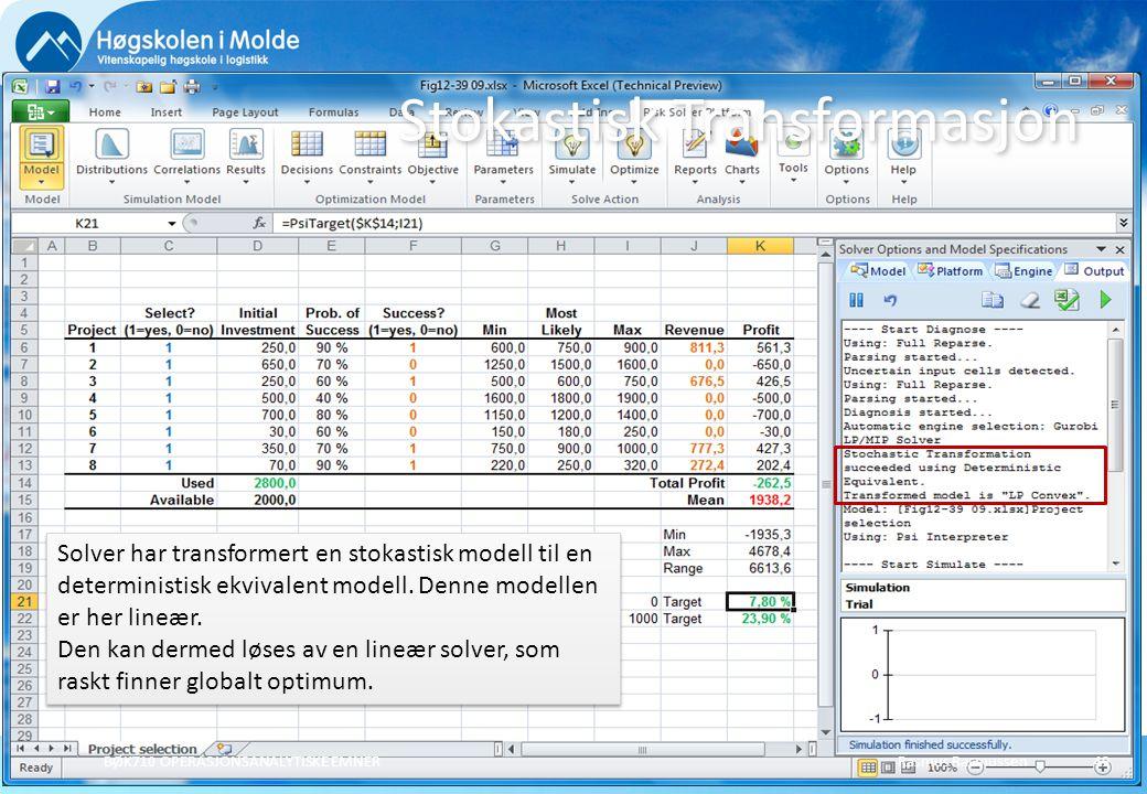 Rasmus Rasmussen BØK710 OPERASJONSANALYTISKE EMNER 49 Stokastisk Transformasjon Solver har transformert en stokastisk modell til en deterministisk ekvivalent modell.