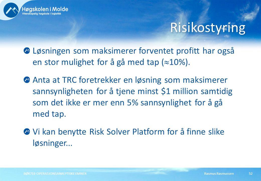 Rasmus Rasmussen BØK710 OPERASJONSANALYTISKE EMNER 52 Løsningen som maksimerer forventet profitt har også en stor mulighet for å gå med tap (  10%).