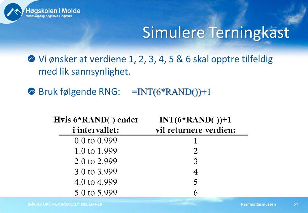 Rasmus Rasmussen BØK710 OPERASJONSANALYTISKE EMNER 54 Vi ønsker at verdiene 1, 2, 3, 4, 5 & 6 skal opptre tilfeldig med lik sannsynlighet.