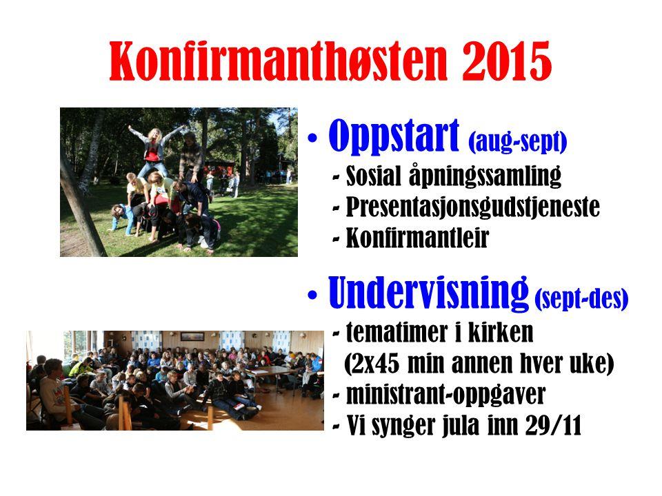 Konfirmanthøsten 2015 Oppstart (aug-sept) - Sosial åpningssamling - Presentasjonsgudstjeneste - Konfirmantleir Undervisning (sept-des) - tematimer i kirken (2x45 min annen hver uke) - ministrant-oppgaver.