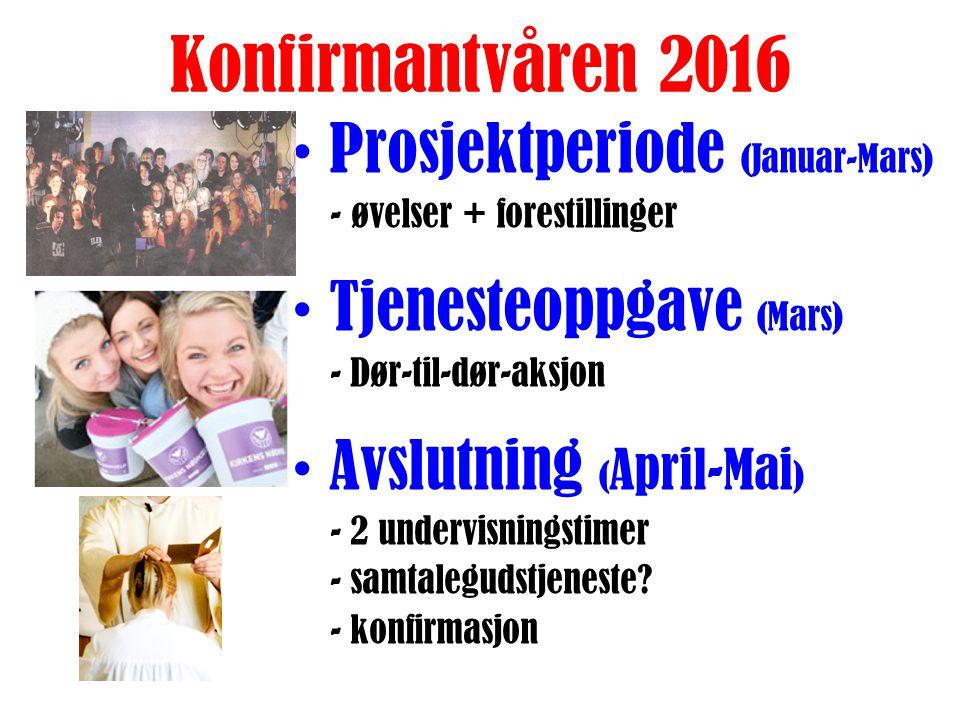 Konfirmanthøsten 2015 Oppstart (aug-sept) - Sosial åpningssamling - Presentasjonsgudstjeneste - Konfirmantleir Undervisning (sept-des) - tematimer i k