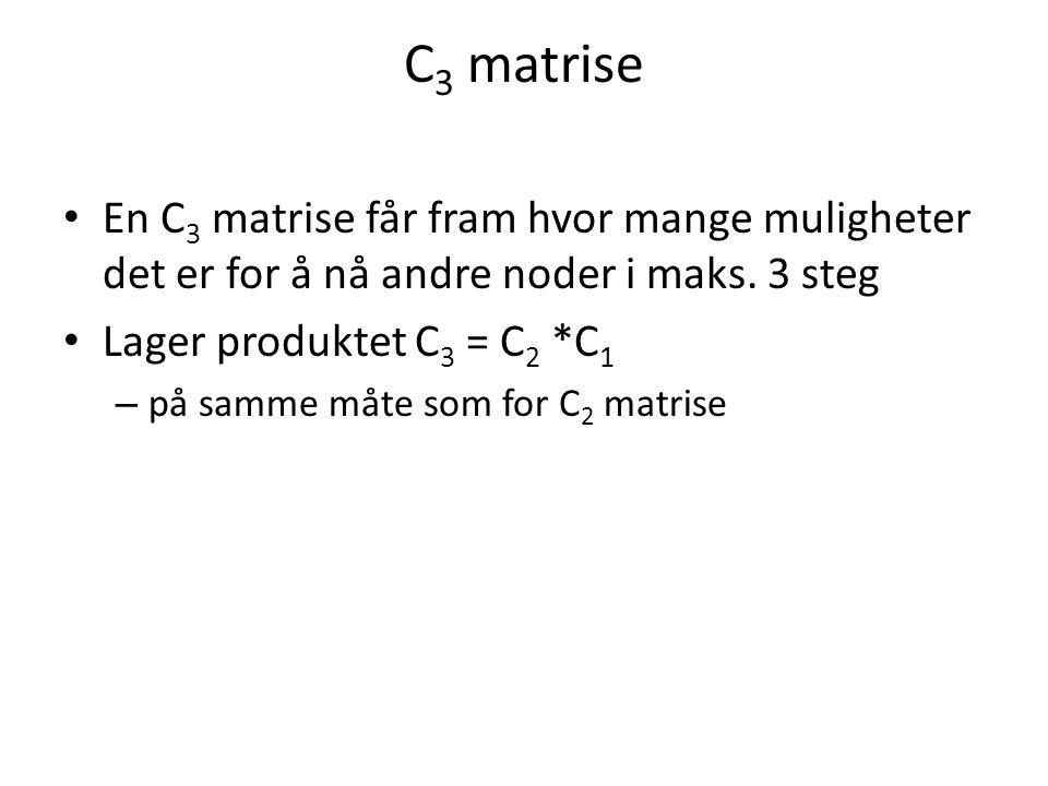 C 3 matrise En C 3 matrise får fram hvor mange muligheter det er for å nå andre noder i maks. 3 steg Lager produktet C 3 = C 2 *C 1 – på samme måte so