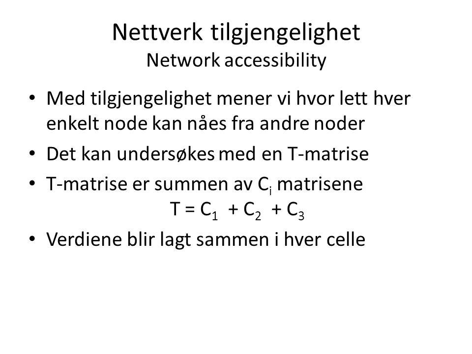 Nettverk tilgjengelighet Network accessibility Med tilgjengelighet mener vi hvor lett hver enkelt node kan nåes fra andre noder Det kan undersøkes med