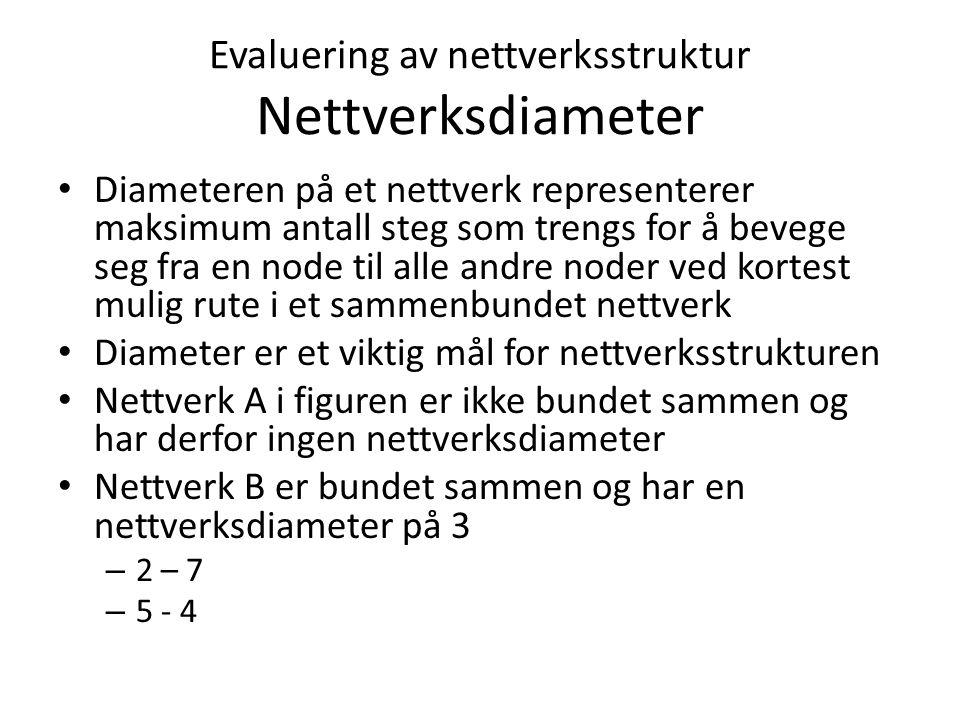 Evaluering av nettverksstruktur Nettverksdiameter Diameteren på et nettverk representerer maksimum antall steg som trengs for å bevege seg fra en node