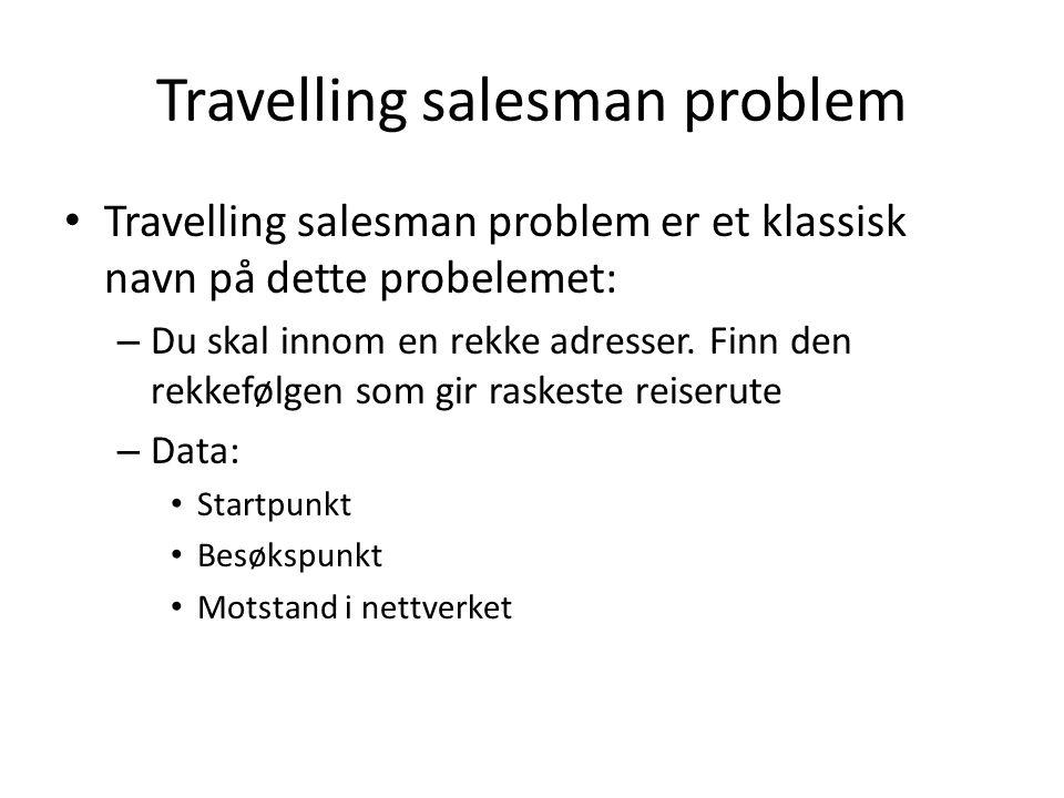 Travelling salesman problem Travelling salesman problem er et klassisk navn på dette probelemet: – Du skal innom en rekke adresser. Finn den rekkefølg