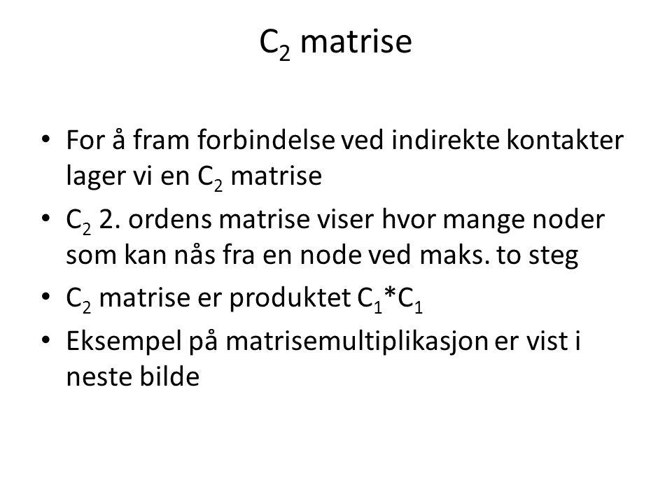 C 2 matrise For å fram forbindelse ved indirekte kontakter lager vi en C 2 matrise C 2 2.