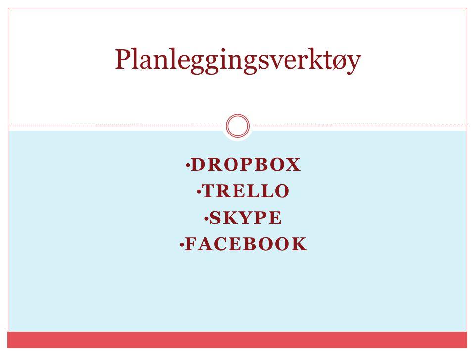 DROPBOX TRELLO SKYPE FACEBOOK Planleggingsverktøy