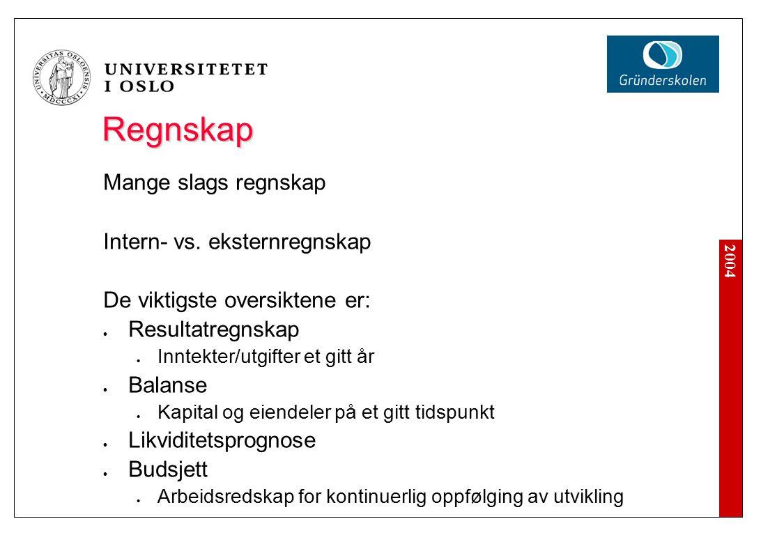 2004 Regnskap Mange slags regnskap Intern- vs.