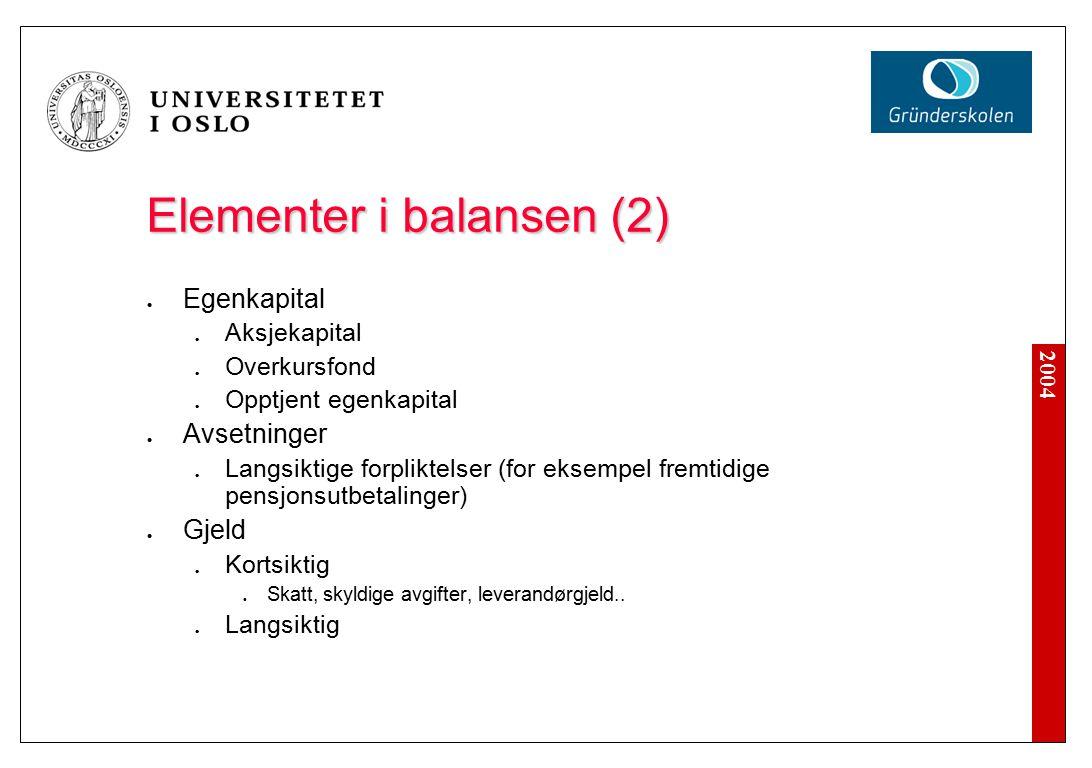 2004 Elementer i balansen (2) Egenkapital Aksjekapital Overkursfond Opptjent egenkapital Avsetninger Langsiktige forpliktelser (for eksempel fremtidige pensjonsutbetalinger) Gjeld Kortsiktig Skatt, skyldige avgifter, leverandørgjeld..