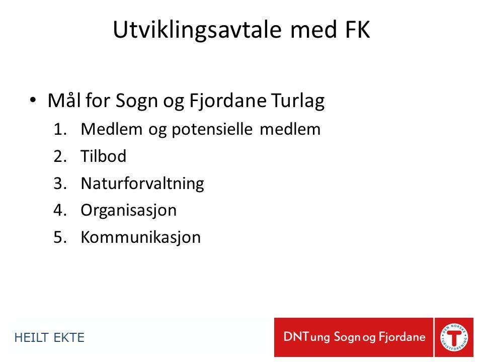 Utviklingsavtale med FK Mål for Sogn og Fjordane Turlag 1.Medlem og potensielle medlem 2.Tilbod 3.Naturforvaltning 4.Organisasjon 5.Kommunikasjon HEILT EKTE