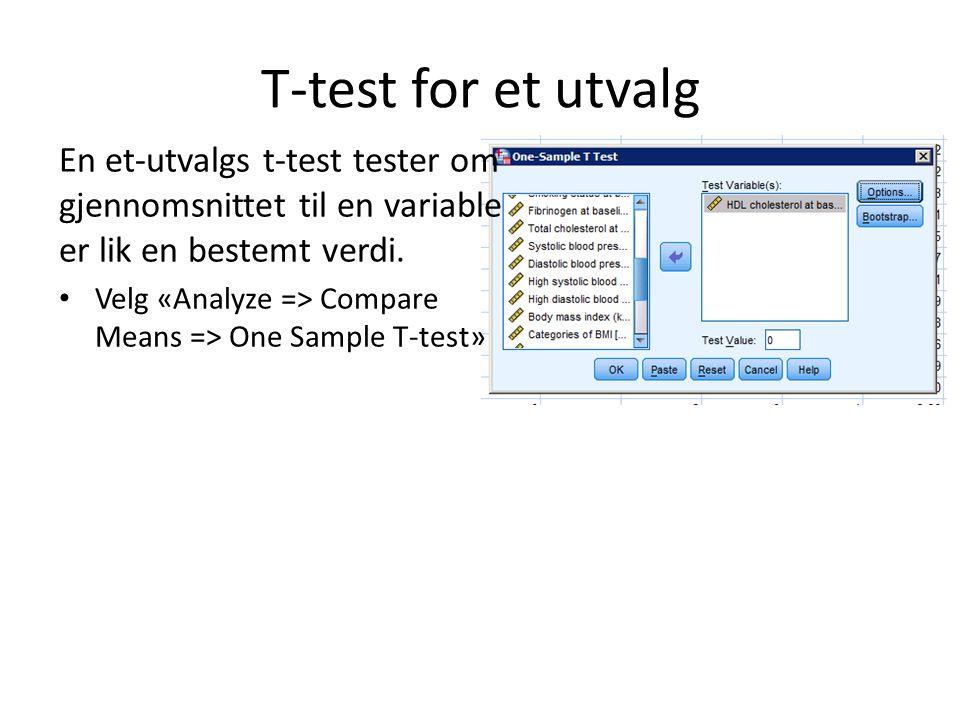 T-test for et utvalg En et-utvalgs t-test tester om gjennomsnittet til en variable er lik en bestemt verdi. Velg «Analyze => Compare Means => One Samp