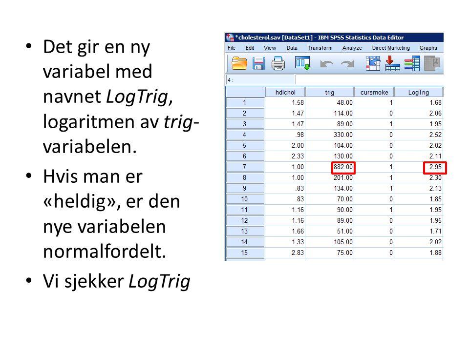 Det gir en ny variabel med navnet LogTrig, logaritmen av trig- variabelen. Hvis man er «heldig», er den nye variabelen normalfordelt. Vi sjekker LogTr