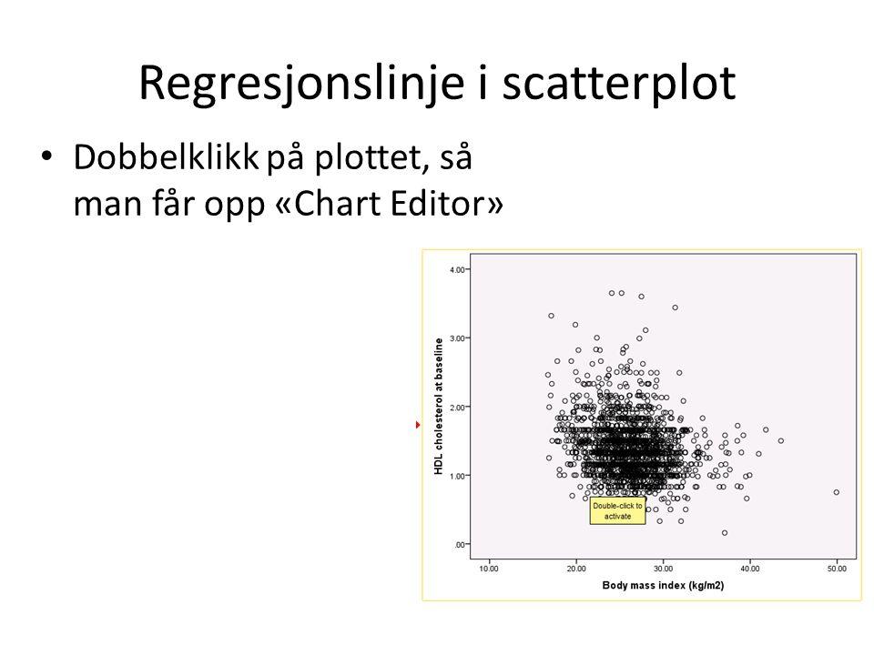Regresjonslinje i scatterplot Dobbelklikk på plottet, så man får opp «Chart Editor»