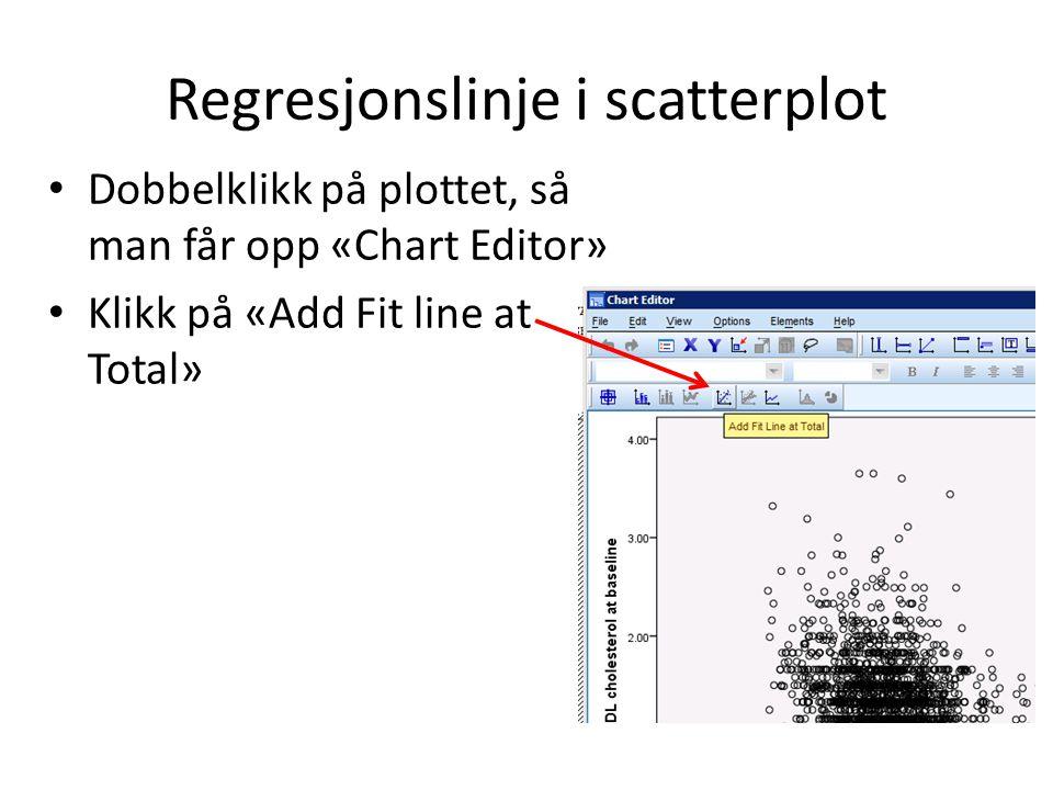 Regresjonslinje i scatterplot Dobbelklikk på plottet, så man får opp «Chart Editor» Klikk på «Add Fit line at Total»