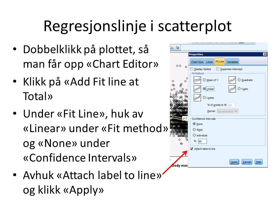 Regresjonslinje i scatterplot Dobbelklikk på plottet, så man får opp «Chart Editor» Klikk på «Add Fit line at Total» Under «Fit Line», huk av «Linear» under «Fit method» og «None» under «Confidence Intervals» Avhuk «Attach label to line» og klikk «Apply»