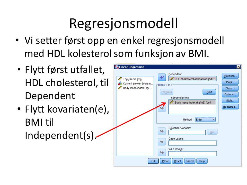 Regresjonsmodell Vi setter først opp en enkel regresjonsmodell med HDL kolesterol som funksjon av BMI. Flytt først utfallet, HDL cholesterol, til Depe