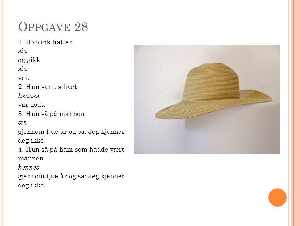 O PPGAVE 28 1. Han tok hatten sin og gikk sin vei.