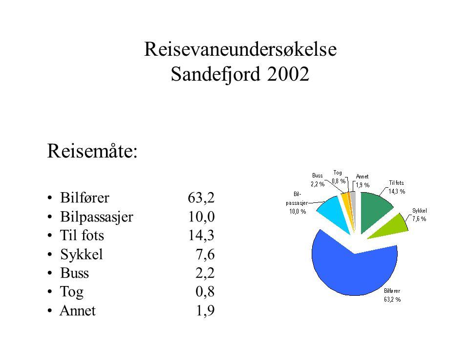 Reisevaneundersøkelse Sandefjord 2002 Reisemåte: Bilfører63,2 Bilpassasjer10,0 Til fots14,3 Sykkel 7,6 Buss 2,2 Tog 0,8 Annet 1,9