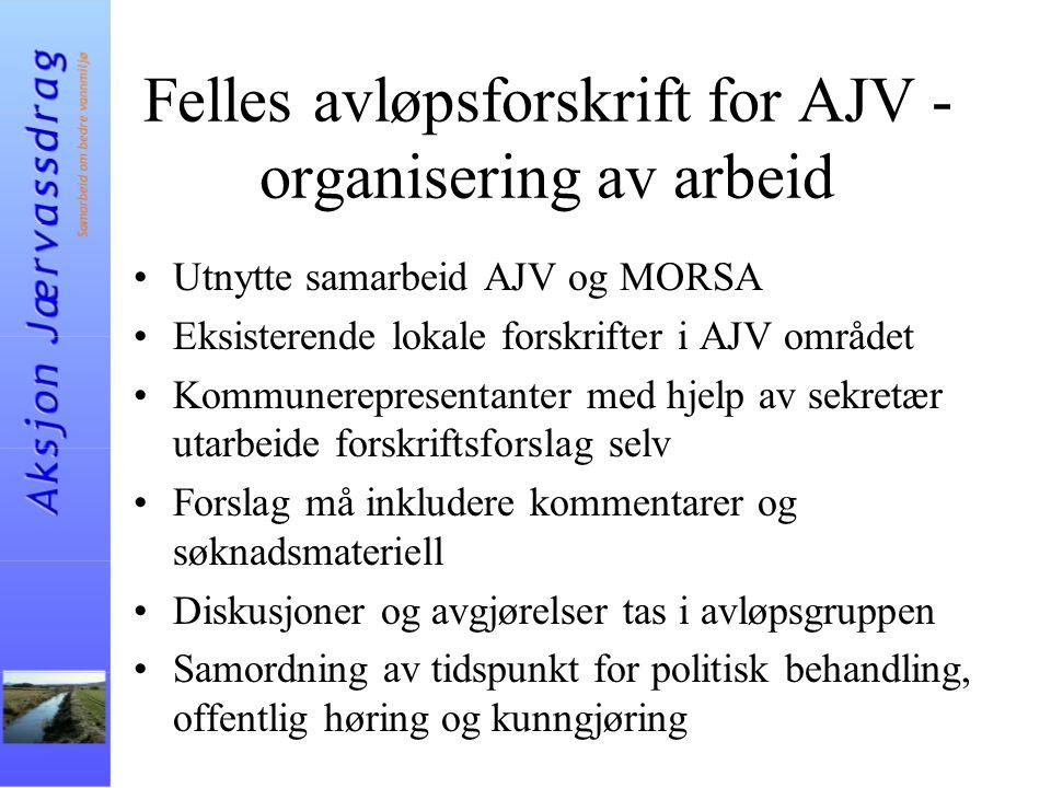 Felles avløpsforskrift for AJV - organisering av arbeid Utnytte samarbeid AJV og MORSA Eksisterende lokale forskrifter i AJV området Kommunerepresenta