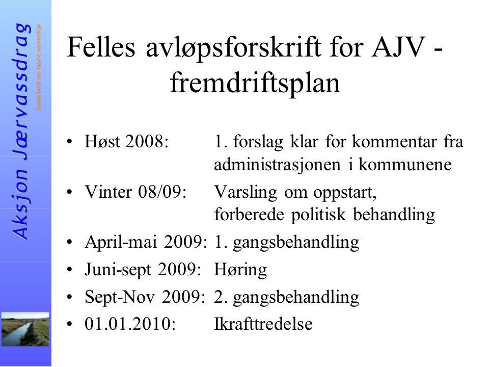 Felles avløpsforskrift for AJV - fremdriftsplan Høst 2008:1. forslag klar for kommentar fra administrasjonen i kommunene Vinter 08/09:Varsling om opps