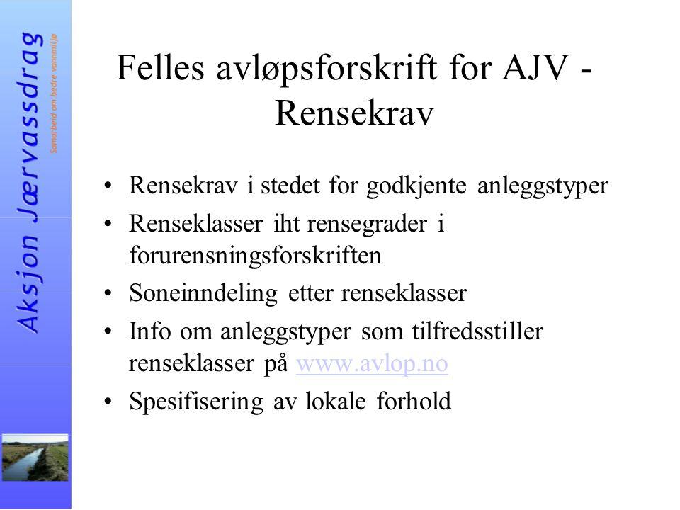 Felles avløpsforskrift for AJV - Rensekrav Rensekrav i stedet for godkjente anleggstyper Renseklasser iht rensegrader i forurensningsforskriften Sonei