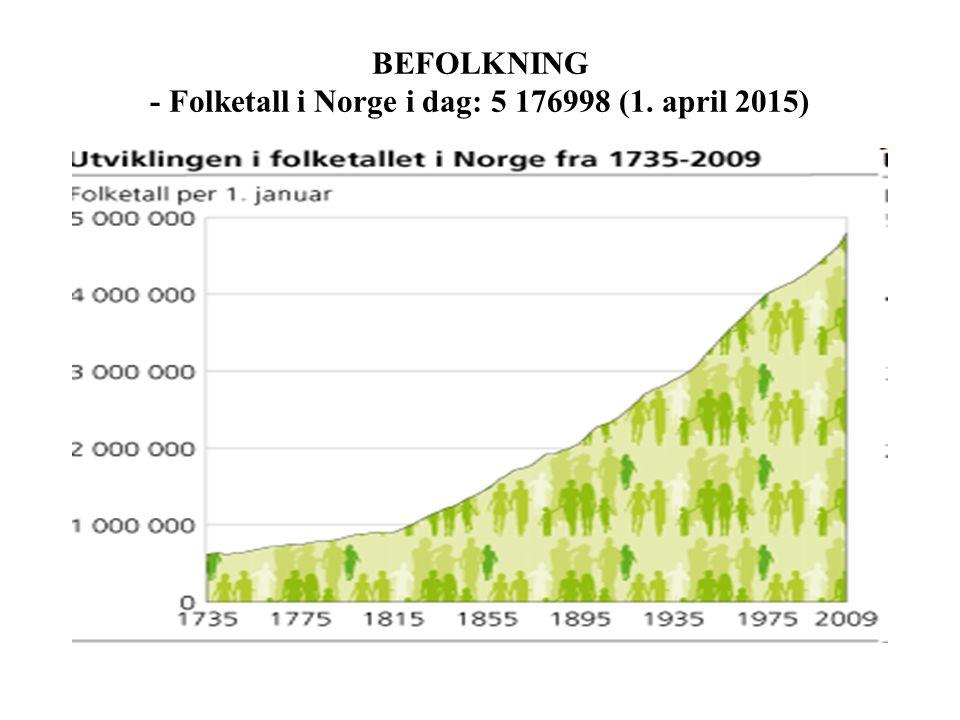 BEFOLKNING - Folketall i Norge i dag: 5 176998 (1. april 2015)