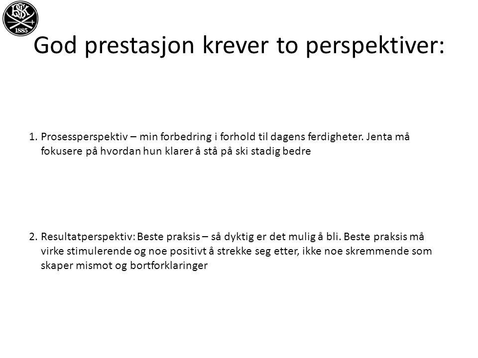 God prestasjon krever to perspektiver: 1.Prosessperspektiv – min forbedring i forhold til dagens ferdigheter.