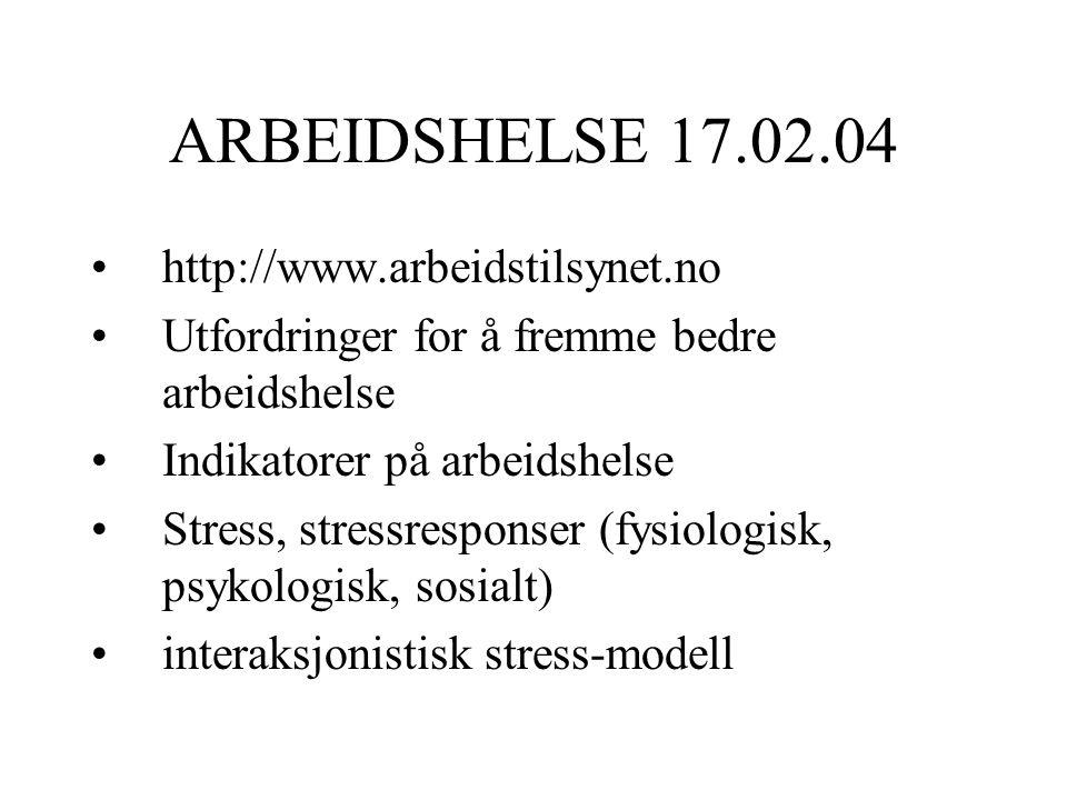 ARBEIDSHELSE 17.02.04 http://www.arbeidstilsynet.no Utfordringer for å fremme bedre arbeidshelse Indikatorer på arbeidshelse Stress, stressresponser (